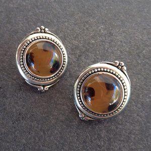 Vintage Silver Tone Halo Earrings
